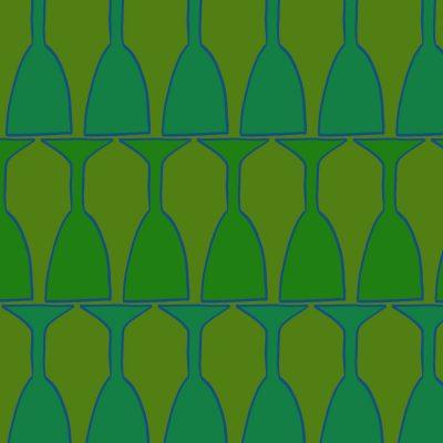 Tea towel green glasses - Textiles Margie Harris Art