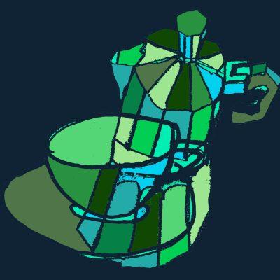 coffee pots greens multi square - - Margie Harris Art